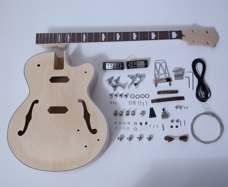 DIY Electric Bass Guitar Kits-Hollow Body Bass Build Your Own Bass Kit SNBK011