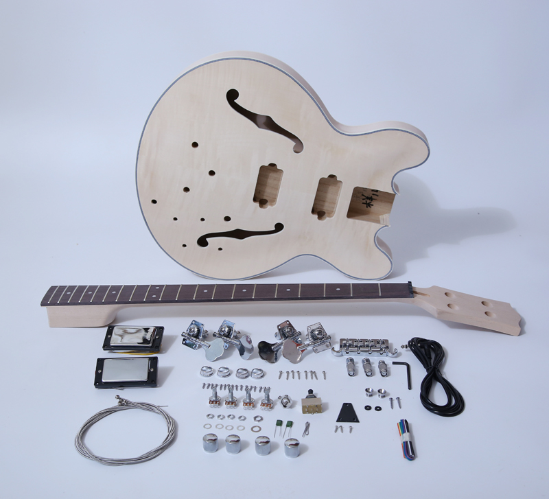DIY Electric Bass Guitar Kits-Semi Hollow Body Bass Build Your Own SNBK013